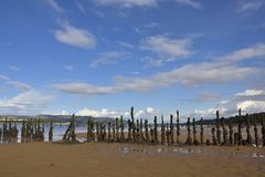 Old Timber Ponds. View at low tide of the remains of the  old timber ponds, dating from around the  early 18th century and preserved by salt water at high tide Stock Photos