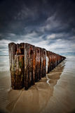 Old Timber sea barrier with cloudy sky. Old Timber Sea Fence Sand barrier to stop erosion Royalty Free Stock Photography