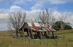 An Old Timber Shed Leaning Over. A rustic tin and timber shed almost ready to fall over Royalty Free Stock Photography