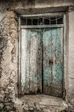 Old timber window in the scuffed wall Royalty Free Stock Image
