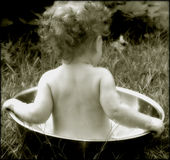 Old time baby bath Royalty Free Stock Photo