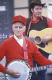 Old time banjo player. Performing at a street fair, Hannibal, MO Royalty Free Stock Image