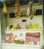 Old time Butcher shop window Stock Photography