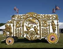 Old Time Circus Wagon. Antique Circus Wagon with Gilded Decorations Stock Images