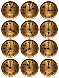 Old time clock hours. In a collage royalty free stock image