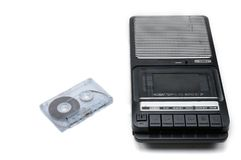 Old-time desktop type cassette recorder on white isolated background royalty free stock image