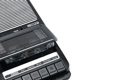 Old-time desktop type cassette recorder on white isolated background royalty free stock photo