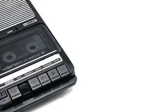 Old-time desktop type cassette recorder on white isolated background royalty free stock photos