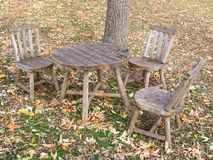 Old Time Dining. Antique table and chairs Stock Images