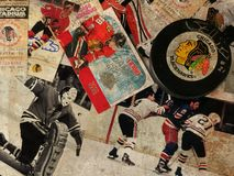 Chicago Blackhawks Collage. Old-Time Hockey, Chicago Blackhawks legends collage stock photos