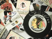 Chicago Blackhawks Collage. Old-Time Hockey, Chicago Blackhawks legends collage royalty free stock photography