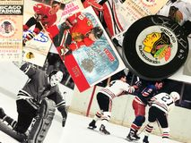 Chicago Blackhawks Collage. Old-Time Hockey, Chicago Blackhawks legends collage royalty free stock photos