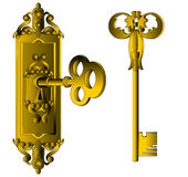 The Old-time lock with key. Insulated on white background Royalty Free Stock Photography