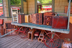 Old time luggage at RR station Phoenicia, NY Royalty Free Stock Image