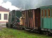 Old time narrow gauge railway train Royalty Free Stock Photos