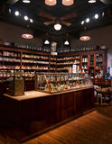 Old time pharmacy. Old fashioned drug store and pharmacy stock photo