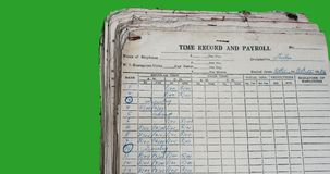Old Time Record and Payroll. In an archived with dust dated 1976 Royalty Free Stock Image
