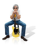 Old Time Rock and Roll. Mature gray-hair musician with his yellow electric guitar Stock Image