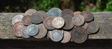 Old-time russian coins Royalty Free Stock Photo