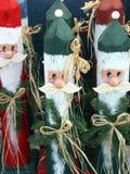 Old Time Santas. Old time wooden santas waiting for Christmas Stock Photos