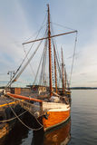 Old time ship or boat at harbour. Norway Royalty Free Stock Photo