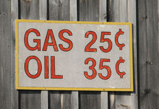 Old time sign with gas and oil prices. A vintage looking sign showing gas and oil prices from a time gone by Stock Images