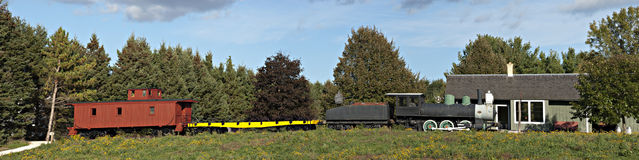 Old Time Steam Locomotive Railroad Train Panorama Royalty Free Stock Image
