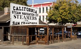 Old time. Transport Company building will feel you in Gold Rush time in old Sacramento in California Stock Images