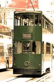 Old time trolly in Hong Kong. An old fashioned trolly or tram in Hong Kong heading for central market stock images