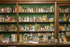 Old village store with medicines royalty free stock photography