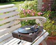 Old time vintage phonograph record player Royalty Free Stock Photos