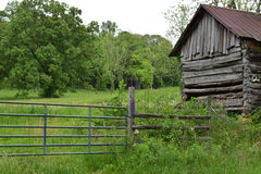 Old-time Western NC barn with gate stock photos