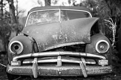Old timer abandoned automobile on the farm. Old timer abandoned automobile on the  farm Royalty Free Stock Images