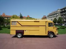 Old timer bus. Old timer french bus redesigned as traveling home Stock Images