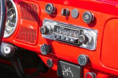 Old-timer car radio. In a red car Royalty Free Stock Photo