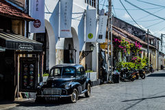 Old timer in a Cobblestone Street of Galle Fort Stock Image