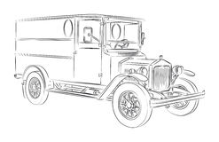 Old-timer delivery van vector. Oldtimer delivery van vector drawing Stock Photos