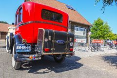 Old-timer Ford model A, 1931. VLODROP, NETHERLANDS - AUGUST 19, 2018: Old-timer car Ford Model A, 1931, parking on a public parking spot royalty free stock photography