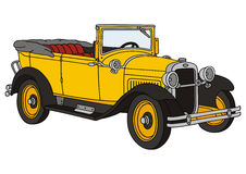 Old timer. Hand drawing of old yelow convertible Stock Photos