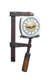 Old timer under pressure in clamp Stock Photo