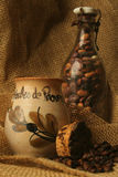 Old times. Spice, coffee and beans in still life stock images