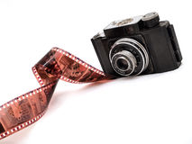 Old times good times. An old russian rangefinder camera & a roll of film stock photos