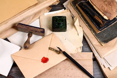 Old times - letter writing. Old letters, ink and pen Royalty Free Stock Photos