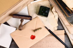 Old times - letter writing. Old letters, ink and pen Royalty Free Stock Photography
