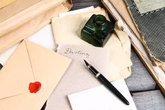 Old times - love letter writing. Old love letters, ink and pen Stock Images