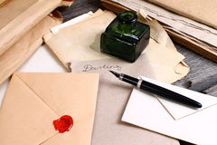 Old times - love letter writing. Old love letters, ink and pen Stock Photography
