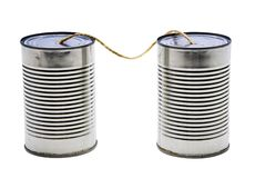 Old tin can phones. Isolated over white Stock Photos