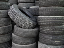 Old tire stack layers Stock Photo