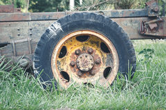 Old tire and wheel truck Stock Images