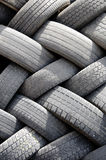 Old Tires. A stack of used tires at a recycling center Royalty Free Stock Image